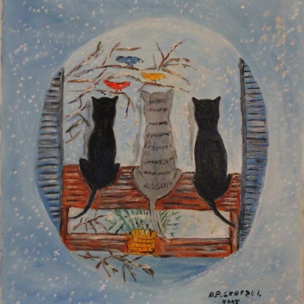 412 – 3 Cats snow bird watching – 18oz 18w x20h 300