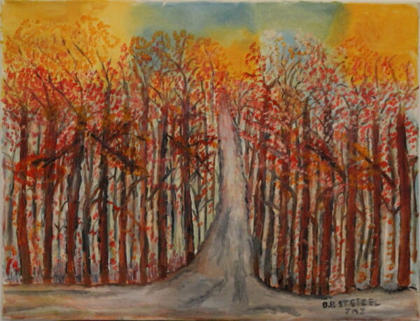 453 – Path in the woods – in the fall – 24oz – 26w x 20h 400