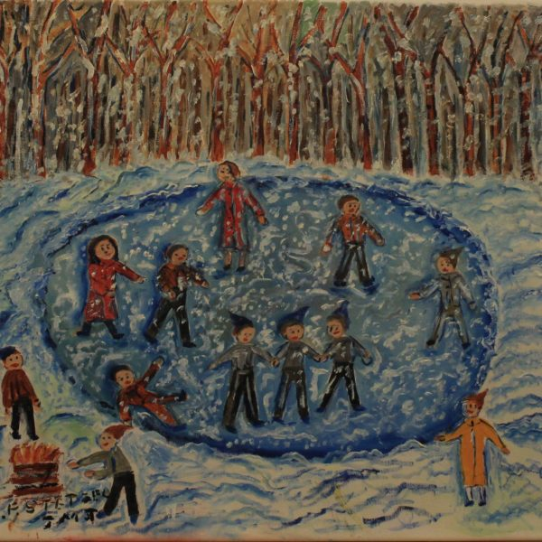 513 – Ice skating on a pond next to a fire – 19oz – 20w x18h 300