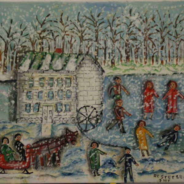 521 – White mill- 10 people- snowy day -19ox – 22w x20h 400