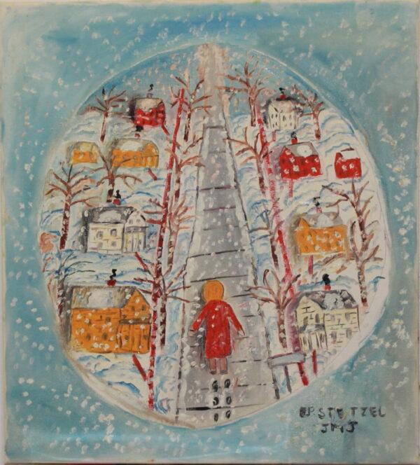 524 – Walking in a snowstorm – 18oz – 18w x20h 300