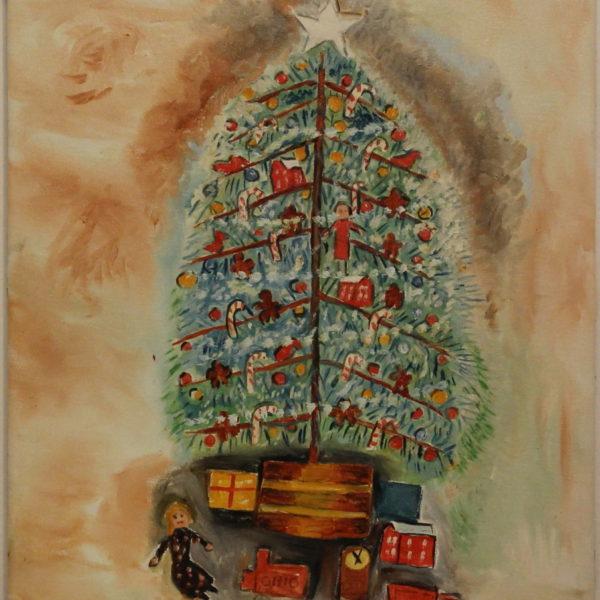 525 -Christmas tree – Doll and Barn – Red Ohio -17oz – 16w x20h 300