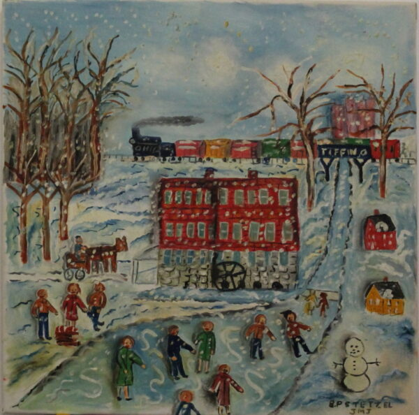 528 – Ice skating – snowman- red mill#2 – 20oz – 20w x 20h 350