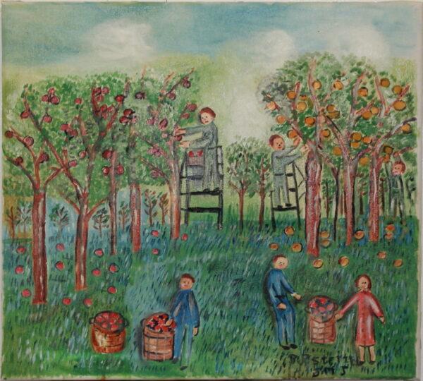 535 – Harvesting apples – 18oz – 20w x18h 300