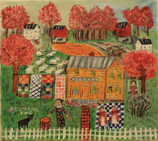 537 – Quilts and animals on the farm in the fall – 18oz – 20w x18h – 350