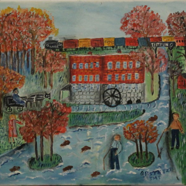 543 – Boys fishing – red mill – early fall – 20oz – 21w x19h 350