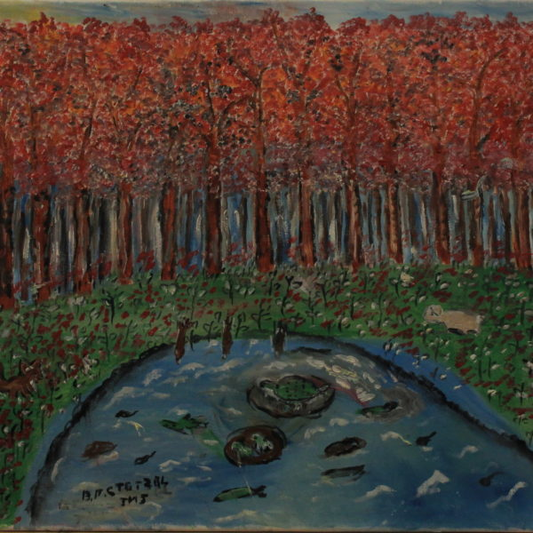 549 – Fish in the pond in the fall – 19oz – 20w x18h 300