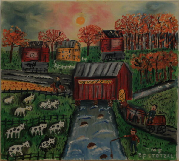 551 – Fishing at the red covered bridge in the fall – 18oz – 20w x 18h 300