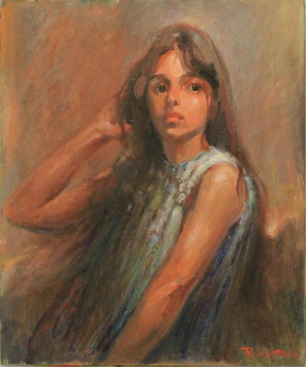 R23 – Innocent brown eyed girl in blue dress – 29oz – 20w x24h 200