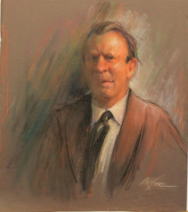 R50a Pastel DBL sided- Clean shaved man in a brown suit – 22w x24.5h