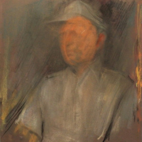 R50b Pastel DBL sided- Faceless man in ball gray cap – 22w x24.5h