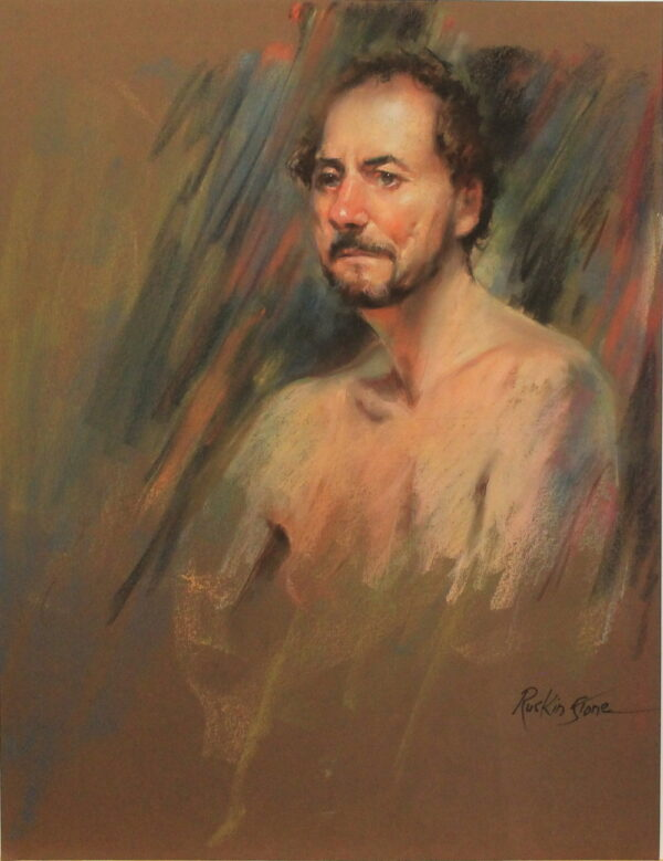 R53 Pastel – Man with no shirt and brown beard and mustache – 19.5w x25.5h