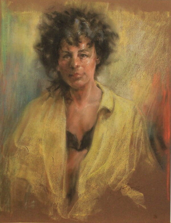 R55 Pastel – Woman with wild hair in yellow opened blouse – 19.5w x25.5h