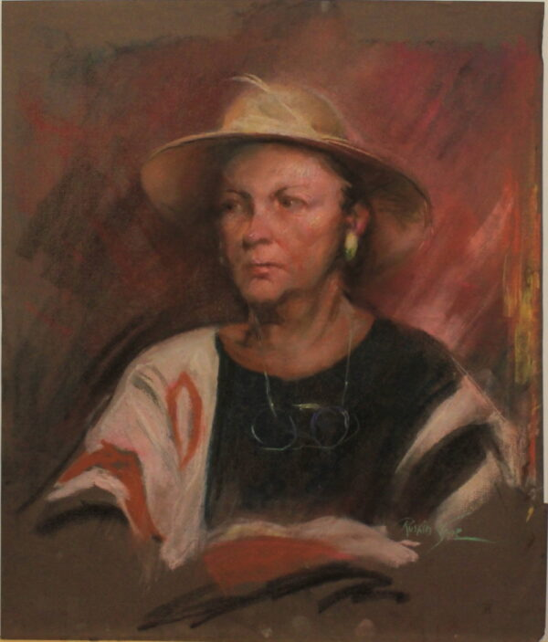 R56 Pastel – Woman with reading glasses around her neck in a wide brimmed hat – 22w x26h