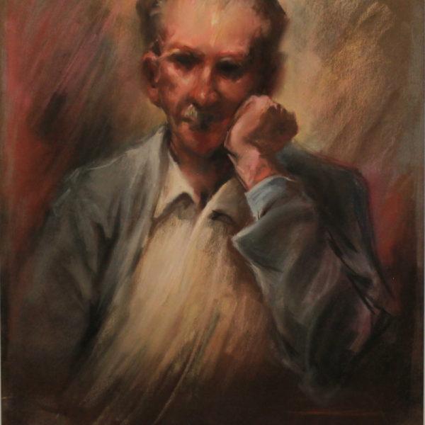 R58 Pastel – Older man pondering in blue jacket with white shirt – 19.5w x25.5h