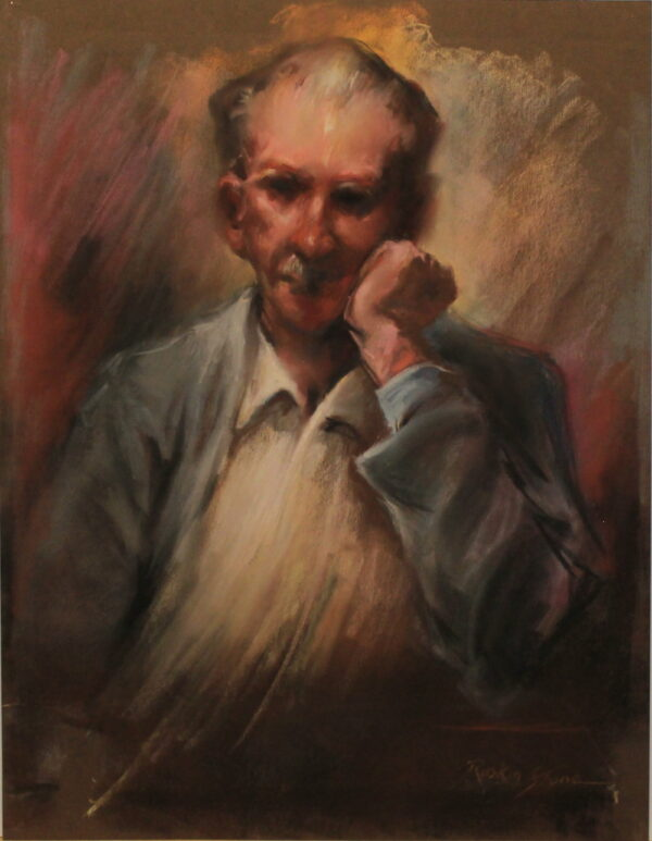 R58 Pastel – Older man pondering in blue jacket with white shirt – 19.5w x25.5h