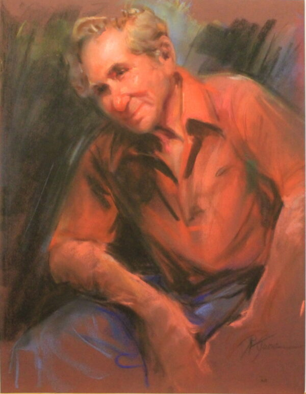 R60 Pastel – Man with gold hair in orange shirt and blue pants – 19.5w x25.5h