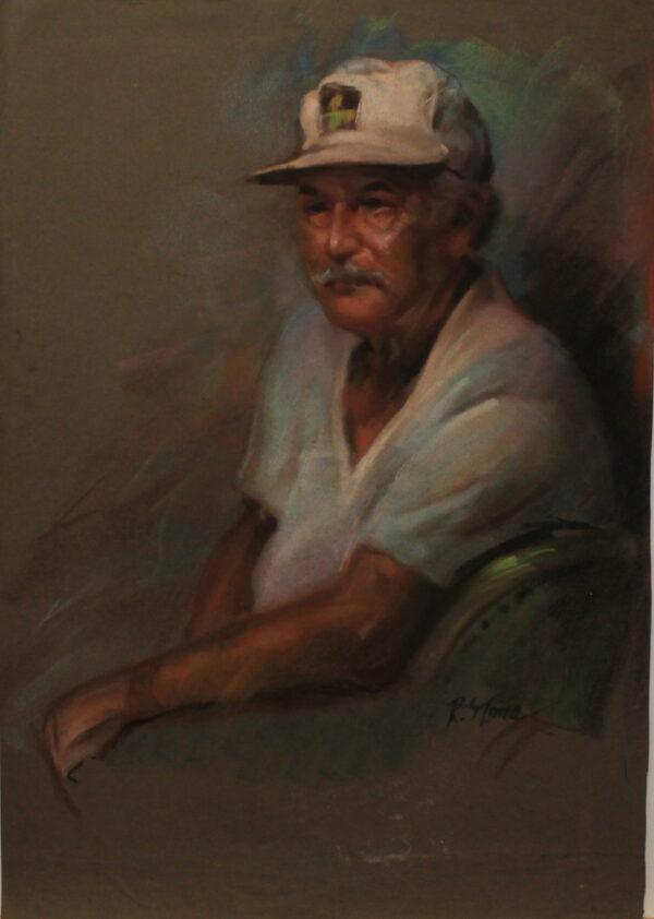 R61 Pastel – Older man white tshirt fishing cap – 19.5w x27.5h