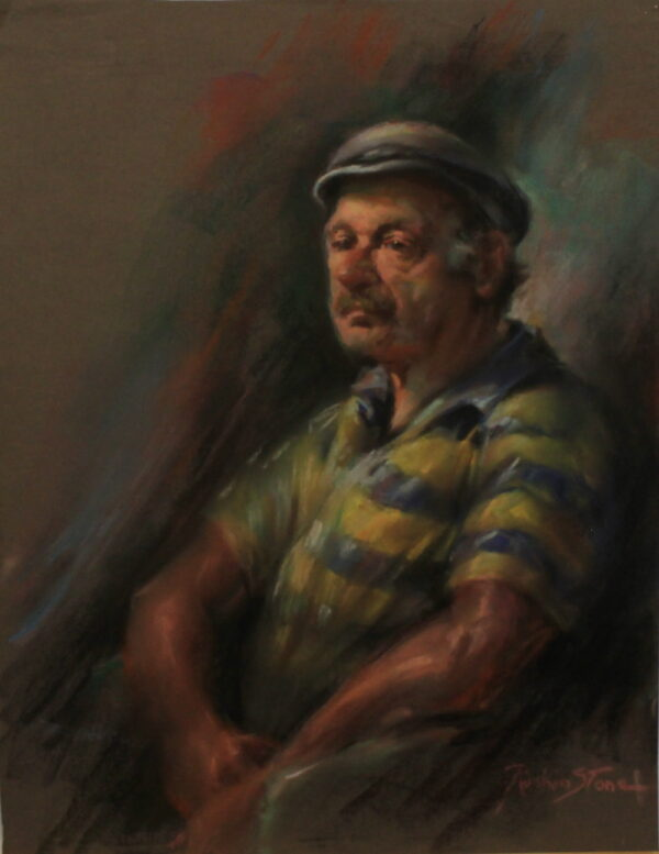 R65 Pastel – An Older man with blue and yellow striped shirt in a cap – 19.5w x25h