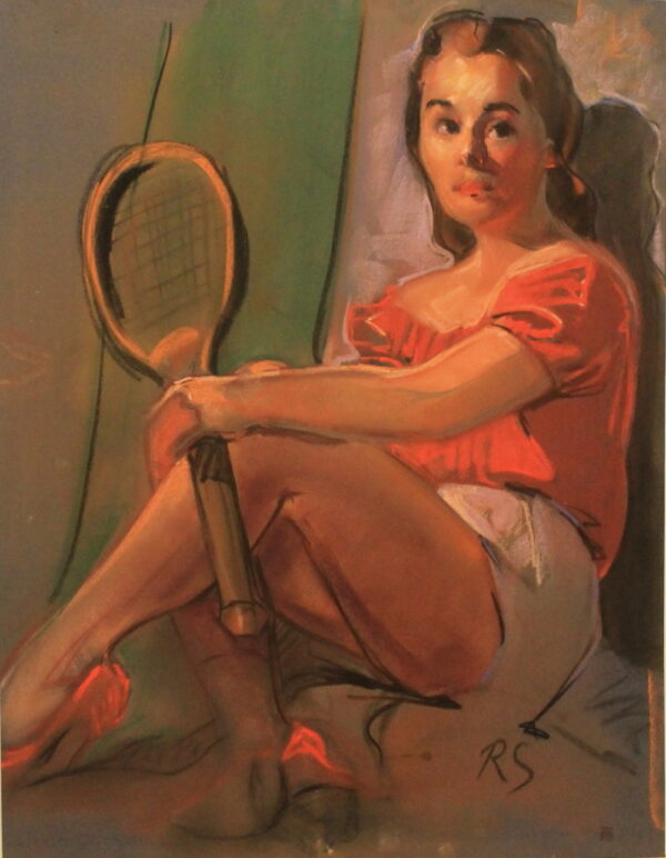 R68b Pastel dbl sided- Young lady in red with tennis racket – 19.75w x 25.5h
