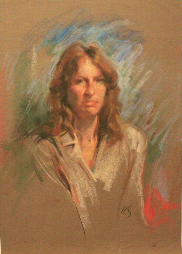 R69 Pastel – Woman with wavy light brown hair white blouse – 19.5w x27.5h
