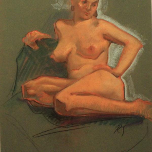 R71a Pastel dbl sided – Nude sitting – 19.5w x25.5h