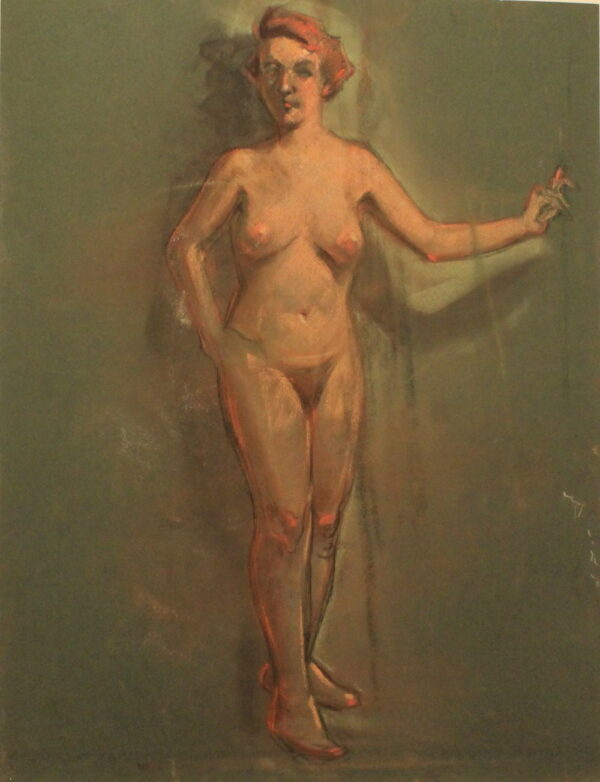 R71b Pastel dbl sided – Nude standing – 19.5w x25.5h