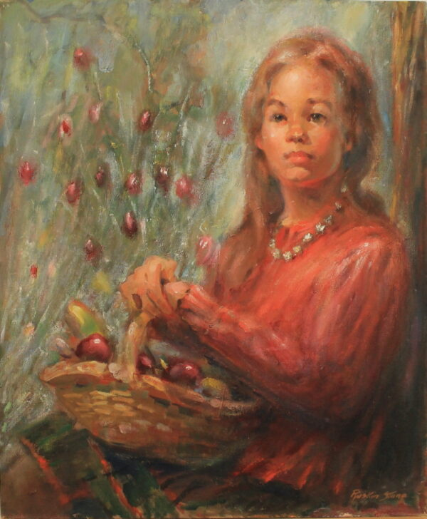 R124 – Woman in red with a fruit basket – 20w x24h – 26oz