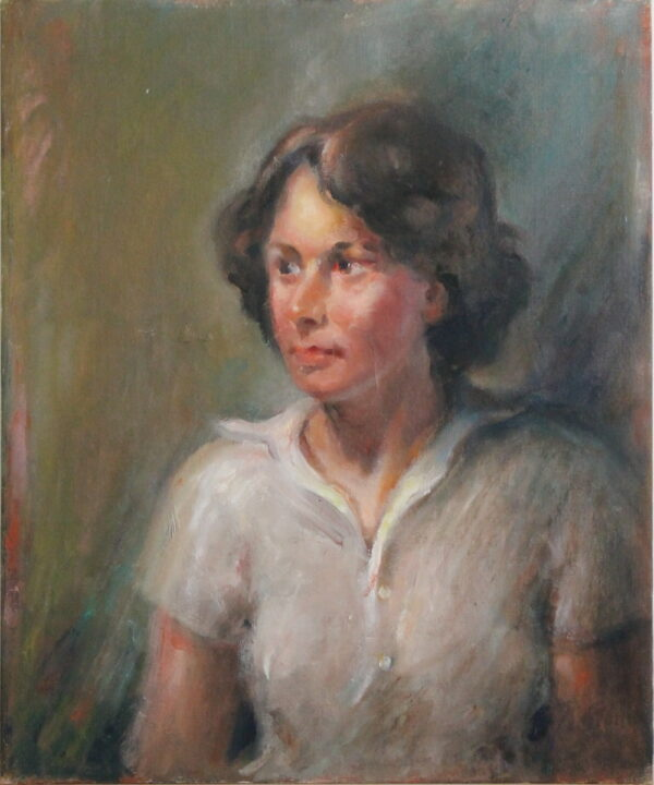 R127 – Young lady with brown hair in a white blouse – 20w x24h – 24oz