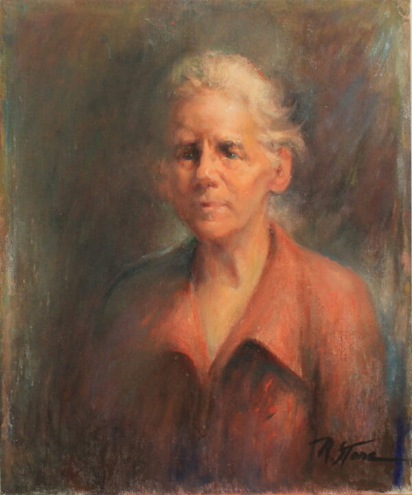 R129 – Elderly lady in red – 20w x24h 25oz