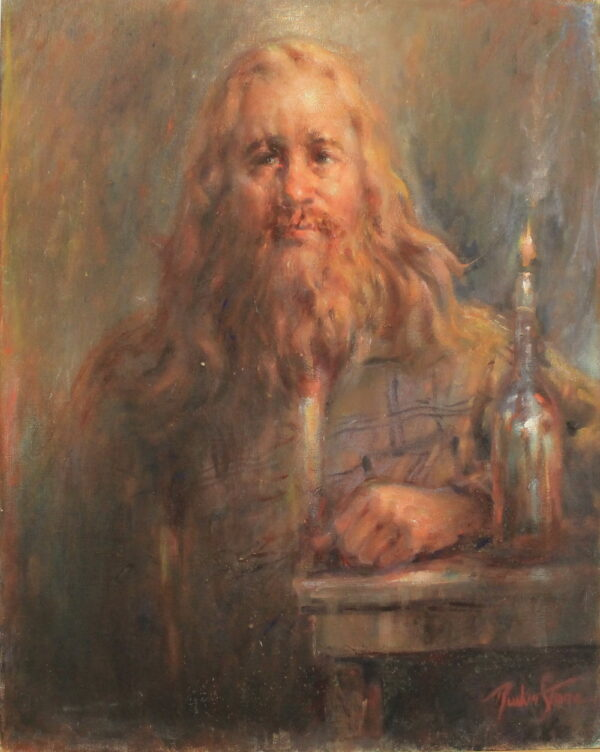 R133 – Golden haired man sitting with bottle candle – 24w x30h 43oz