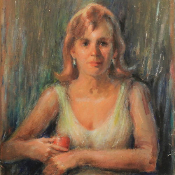 R134 -Young lady holding a red glass – 24w x27h 39oz