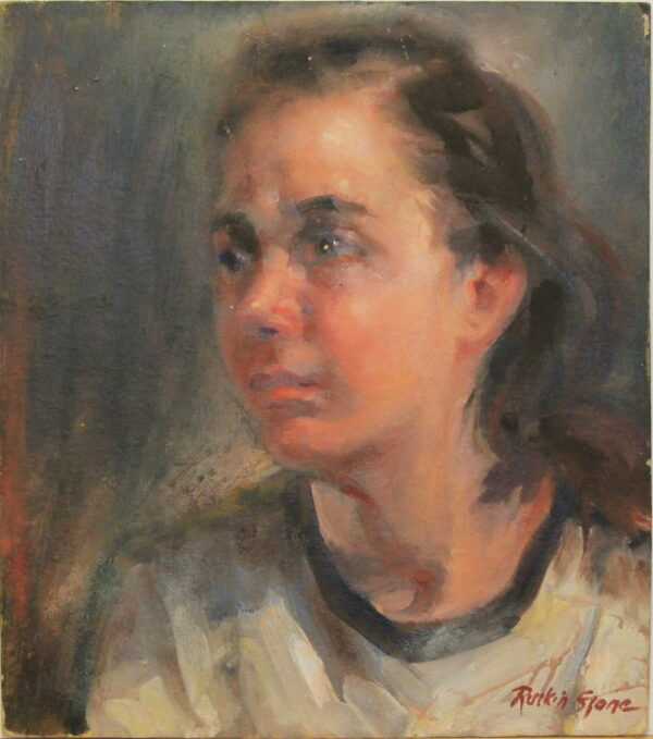 R135 Brown haired lady looking worried – 14w x16h 13oz worn edged with some chips