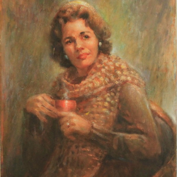 R141 – Lady with red mug – 24w x30h – 39oz