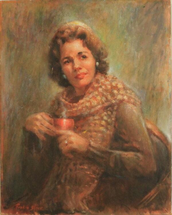 R141 – Lady with red mug – 24w x30h – 39oz