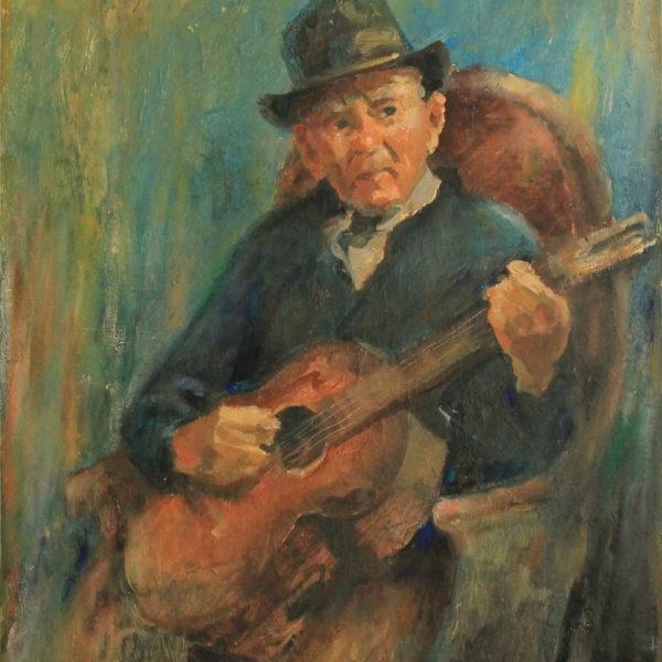 R153 – Elderly man playing guitar – 24w x30h – 46oz