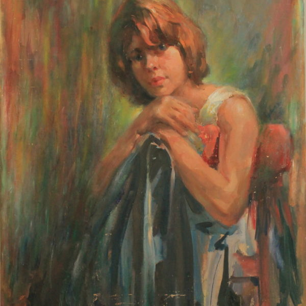 R154 – Young girl in a chair – 24w x30h – 42oz