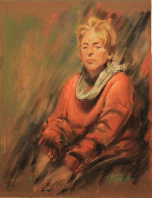 R90 – Woman in red wearing a white scarf – 20.5w x25.5h – 450