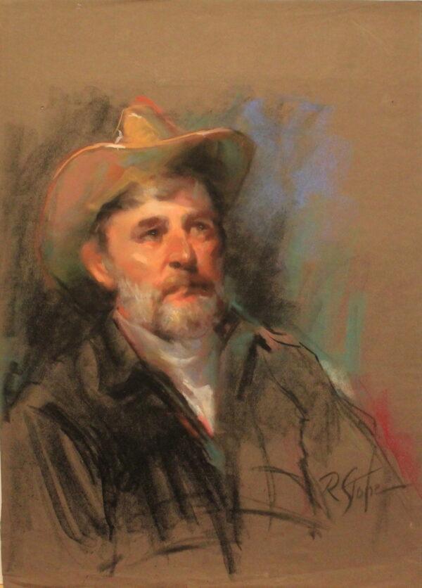 R91 – Aging cowboy – 19.5w x27.5h – 500
