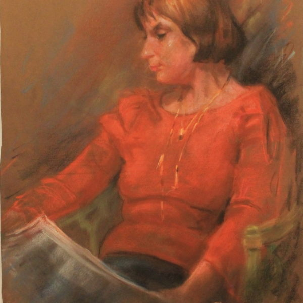 R108 – Lady in red reading a newspaper – 20.5w 26.5h – 450