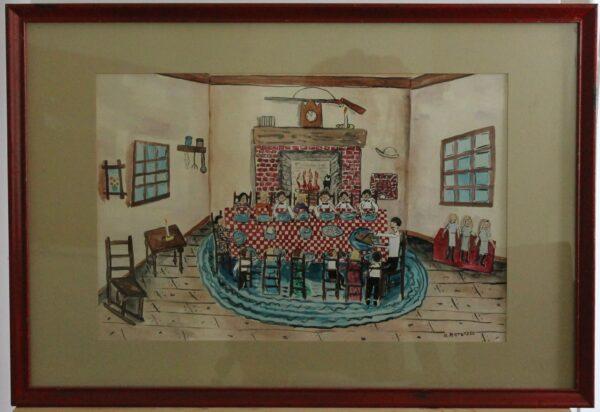 1105 – Thanksgiving Dinner – 11_1-2w x 17_1-2h – framed size 24_1-4w x 17_1-2 -275