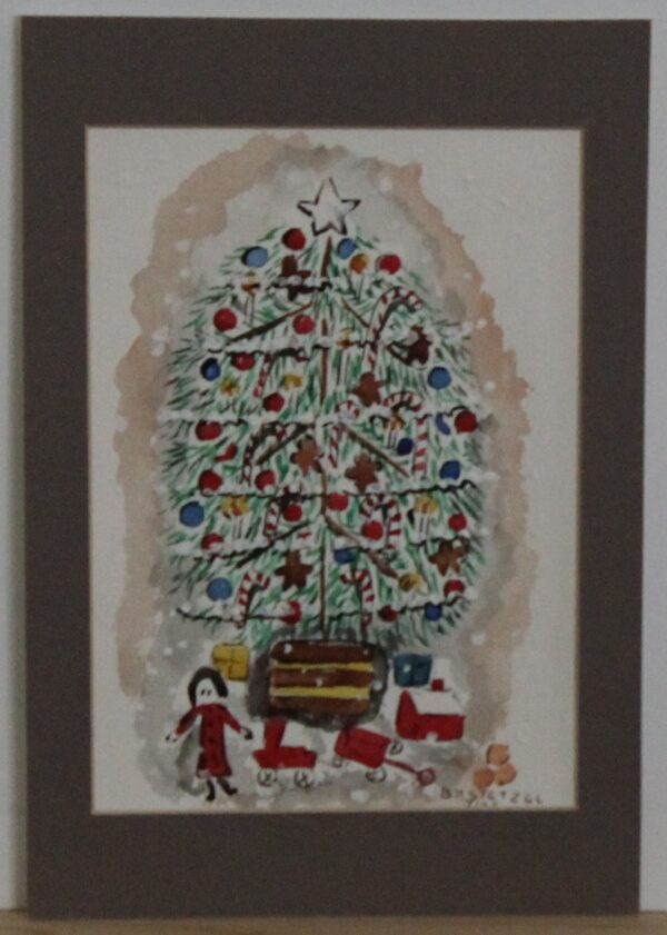 1109 – Watercolor – Christmas tree – 5w x 7_75h – framed size 6_5w x 9_50h – 70