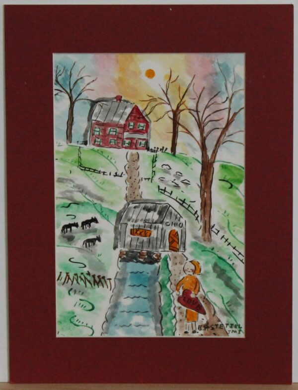 1111 – watercolor – Happy Valentines Day – 5_75w x 8_75h – framed size 8_75w x 11_75h – 70
