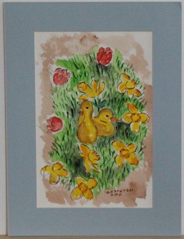 1119 – Happy Easter – 5_75w x 8_75h – framed size 8_75w x 11_75h – 70