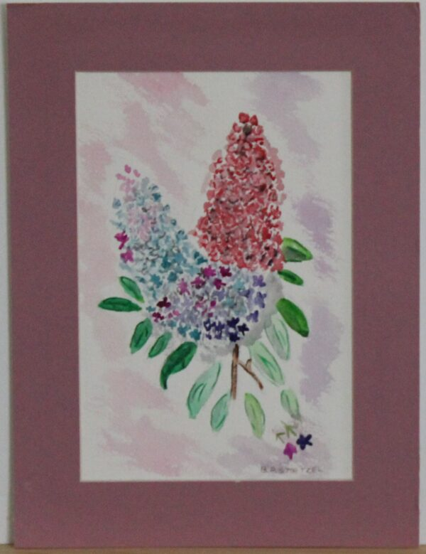 1122 – Watercolor – Lilacs – 5_75w x 8_75h – framed size 8_75w x 11_75h – 70