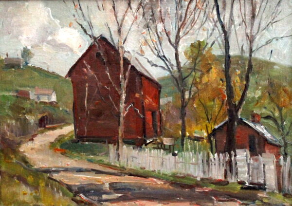 EN37_E_North_Vermont barn w picket fence_ 1970_10H x 14W
