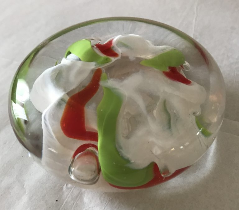 G473 – Paper weight Yellow green red clear – signed D D Bremer 1996 – 3W x 1H – 40