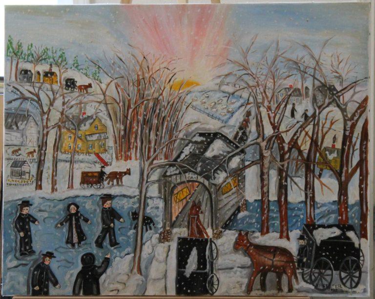 102 – Amish at the oak bridge – 30w x _75 x 24h – 6lb – 700