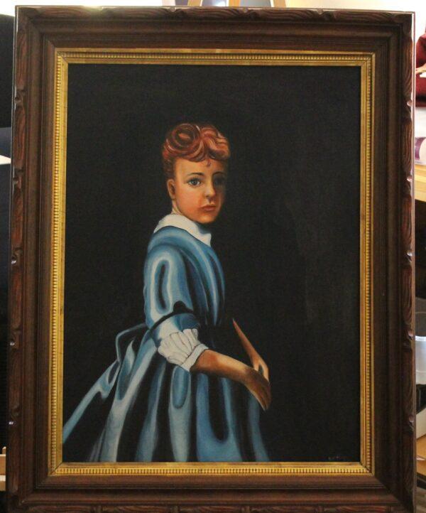 1025_Lady in blue dress _ 23-5w x 3_25 x 29-5h _ 5_5lbs – 500
