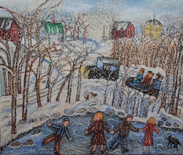 120 – Snowy day fun – 40w x _75 x 34h – 54oz – canvas on wood frame – 2500